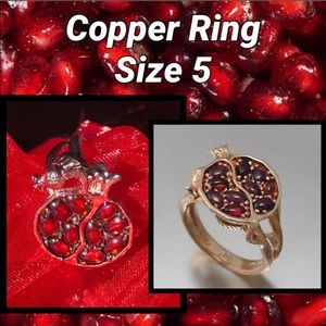 ♥️Free GIFT/$15—Size 5 Copper Garnet Ring